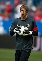16 July 2010 Manchester United Edwin van der Sar No. 1 in action during the warm-up in an international friendly  between Manchester United and Celtic FC at the Rogers Centre in Toronto.