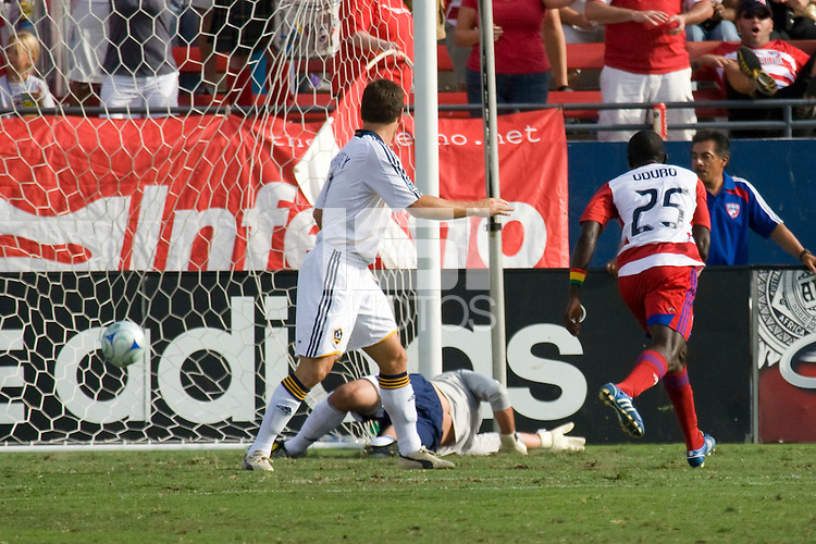 FC Dallas forward Dominic Oduro slots the ball past LA Galaxy Goalkeeper Steve Cronin (1). LA Galaxy vs FC Dallas at Pizza Hut Park Frisco, Texas July 27, 2008 Final Score 0-4.