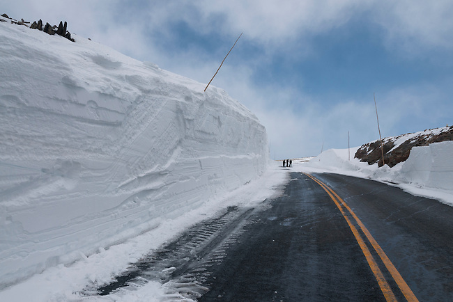 media day, May 2008, for clearing snow from Trail Ridge Road, the highest continuos paved highway in the United States, Rocky Mountain National Park, May, Colorado, USA
