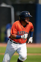 GCL Astros Abraham Castillo (16) runs to first base during a Gulf Coast League game against the GCL Mets on August 10, 2019 at FITTEAM Ballpark of the Palm Beaches Training Complex in Palm Beach, Florida.  GCL Astros defeated the GCL Mets 8-6.  (Mike Janes/Four Seam Images)