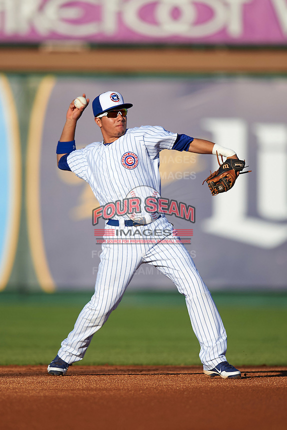 South Bend Cubs second baseman Carlos Sepulveda (2) throws to first during a game against the Burlington Bees on July 22, 2016 at Four Winds Field in South Bend, Indiana.  South Bend defeated Burlington 4-3.  (Mike Janes/Four Seam Images)