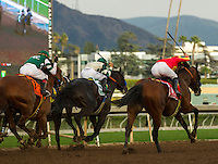 ARCADIA, CA  FEBRUARY 4: #1 Hoppertunity, ridden by Flavien Prat, fly down the stretch to win the San Antonio Stakes (Grade ll) on February 4, 2017, at Santa Anita Park in Arcadia, CA.  (Photo by Casey Phillips/Eclipse Sportswire/Getty Images)