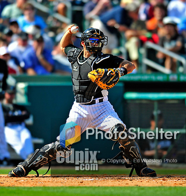 1 March 2009: Florida Marlins' catcher Mike Rabelo in action during a Spring Training game against the St. Louis Cardinals at Roger Dean Stadium in Jupiter, Florida. The Cardinals outhit the Marlins 20-13 resulting in a 14-10 win for the Cards. Mandatory Photo Credit: Ed Wolfstein Photo