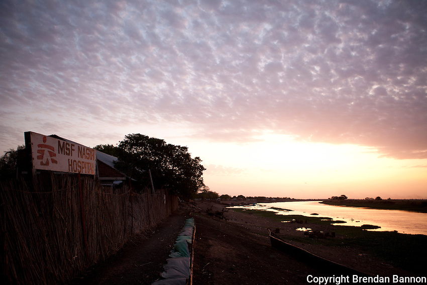 MSF hospital and the Sobat river at dawn as seen from the river's edge in Nasir, South Sudan.
