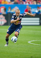 August 21 2010 New York Red Bulls midfielder Joel Lindpere #20 in action during a game between the New York Red Bulls and Toronto FC at BMO Field in Toronto..The New York Red Bulls won 4-1