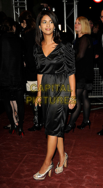 KONNIE HUQ.The Orange British Academy Film Awards 2009 Soho House Grey Goose After Party at the Grosvenor House Hotel, London, England. .February 8th, 2009 .bafta baftas full length black silk satin ruched sleeves dress silver shoes clutch bag .CAP/CAN.©Can Nguyen/Capital Pictures.