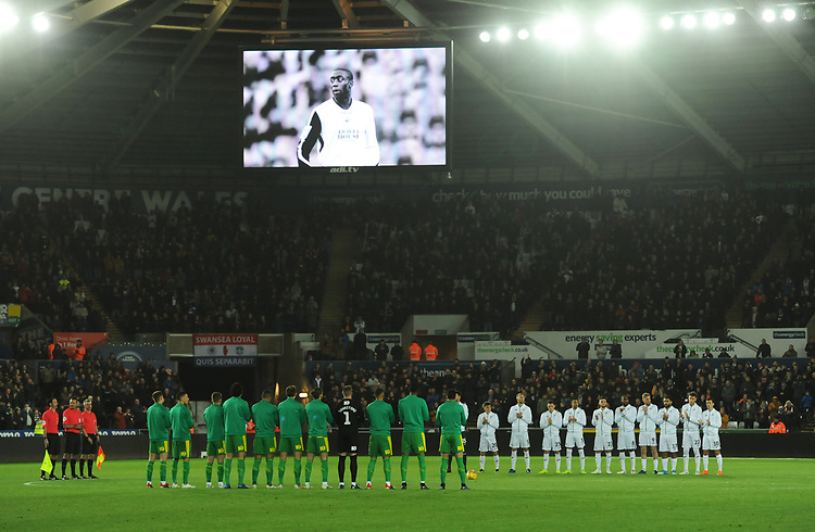 Players from both sides observe a minutes applause in memory of former Swansea City player Kevin Austin<br /> <br /> Photographer Kevin Barnes/CameraSport<br /> <br /> The EFL Sky Bet Championship - Swansea City v West Bromwich Albion - Wednesday 28th November 2018 - Liberty Stadium - Swansea<br /> <br /> World Copyright &copy; 2018 CameraSport. All rights reserved. 43 Linden Ave. Countesthorpe. Leicester. England. LE8 5PG - Tel: +44 (0) 116 277 4147 - admin@camerasport.com - www.camerasport.com