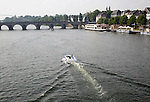 Boats on the river Maas or Meuse, Maastricht, Limburg province, Netherlands