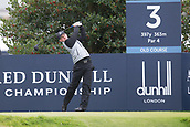 4th October 2017, The Old Course, St Andrews, Scotland; Alfred Dunhill Links Championship, practice round; Connor Syme of Scotland tees off on the third hole on the Old Course, St Andrews during a practice round before the Alfred Dunhill Links Championship