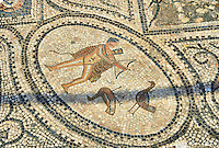 Roman mosaic of a hunter. Volubilis Archaeological Site, near Meknes, Morocco