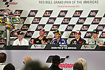 austin. tejas. USA. motociclismo<br /> GP in the circuit of the americas during the championship 2014<br /> 10-04-14<br /> En la imagen :<br /> press conferencee<br /> josh herrin,collin edwards,valentino rossi,marc marquez,nicky hayden,bradley smith.<br /> collin edwards leaves the championship at the end of the season<br /> photocall3000 / rme