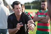 Waiuku Coach Jimmy Robinson. Counties Manukau Premier Club Rugby game between Waiuku and Ardmore Marist, played at Waiuku on Saturday June 4th 2016. Ardmore Marist won 46 - 3 after leading 39 - 3 at Halftime. Photo by Richard Spranger.