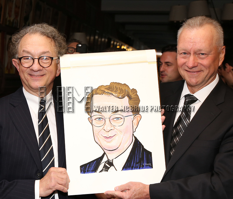 William Ivey Long and Max Klimavicius attend the William Ivey Long Sardi's portrait unveiling and 70th Birthday Party at Sardi's Restaurant on August 30, 2017 in New York City.