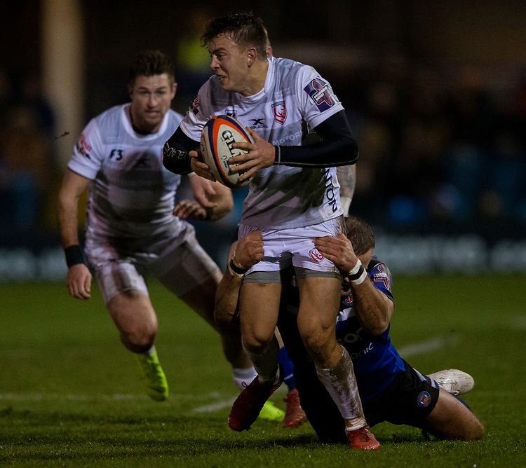 Gloucester's Lloyd Evans in action during todays match<br /> <br /> Photographer Bob Bradford/CameraSport<br /> <br /> Gallagher Premiership - Bath Rugby v Gloucester Rugby - Monday 4th February 2019 - The Recreation Ground - Bath<br /> <br /> World Copyright &copy; 2019 CameraSport. All rights reserved. 43 Linden Ave. Countesthorpe. Leicester. England. LE8 5PG - Tel: +44 (0) 116 277 4147 - admin@camerasport.com - www.camerasport.com