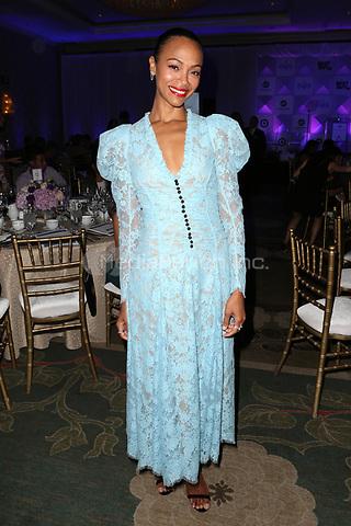 LOS ANGELES, CA - NOVEMBER 8: Zoe Saldana at the Eva Longoria Foundation Dinner Gala honoring Zoe Saldana and Gina Rodriguez at The Four Seasons Beverly Hills in Los Angeles, California on November 8, 2018. Credit: Faye Sadou/MediaPunch