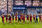 The Vietnam squad reacts to their supporters  prior to the AFC Asian Cup UAE 2019 Round of 16 match between Jordan (JOR) and Vietnam (VIE) at Al Maktoum Stadium on 20 January 2019 in Dubai, United Arab Emirates. Photo by Marcio Rodrigo Machado / Power Sport Images