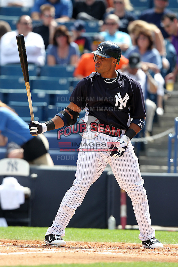 New York Yankees Robinson Cano #24 during a Spring Training game vs the Houston Astros at George M. Steinbrenner Field in Tampa, Florida;  March 2, 2011.  New York defeated Houston 6-5.  Photo By Mike Janes/Four Seam Images