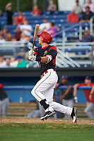 Batavia Muckdogs third baseman Tyler Curtis (11) hits a double in the bottom of the sixth inning during a game against the Lowell Spinners on July 11, 2017 at Dwyer Stadium in Batavia, New York.  Lowell defeated Batavia 5-2.  (Mike Janes/Four Seam Images)