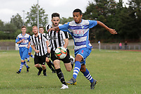 Elliot Browne of Ilford and Sam Cripps of Harwich during Ilford vs Harwich & Parkeston, Emirates FA Cup Football at Cricklefields Stadium on 10th August 2019
