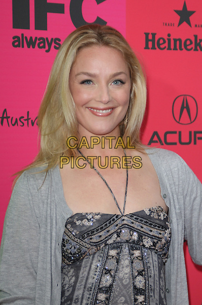 ELISABETH ROHM .IFC's 9th Annual Indie Film Celebration at Shutters on The Beach, .Santa Monica, California, USA, .21st February 2009..independent indie spirit awards after party portrait headshot  grey gray and white print maxi dress long cardigan halterneck .CAP/ADM/KB.©Kevan Brooks/Admedia/Capital PIctures