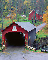 Windham County, VT<br /> Green River covered bridge (1870) spanning the Green river, late fall