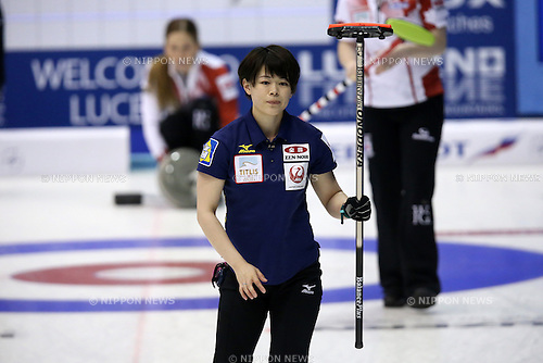 Kaho Onodera (JPN), <br /> MARCH 19, 2015 - Curling : World Women's Curling Championship 2015 Round Robin match between Japan and Canada at Tsukisamu Gymnasium in Sapporo, Hokkaido, Japan. (Photo by Jun Tsukida/AFLO SPORT)