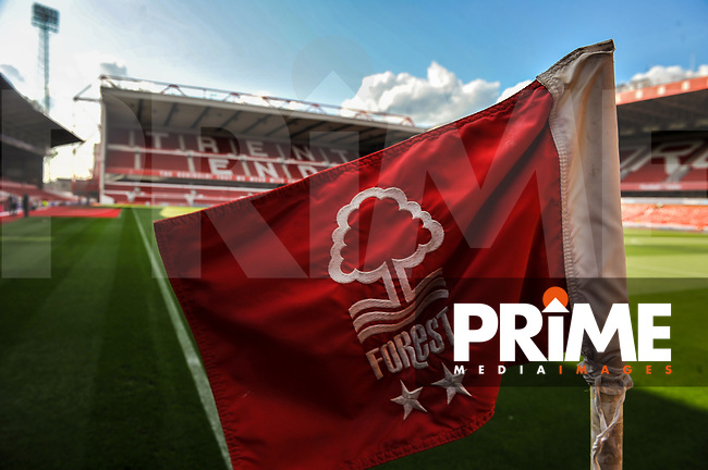 Nottingham Forest crest flag during the Carabao Cup match between Nottingham Forest and Fleetwood Town at the City Ground, Nottingham, England on 13 August 2019. Photo by Stephen Buckley / PRiMR Medis Images