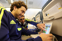 Wednesday 26 February 2014<br /> Pictured L-R: Jose Canas and Pablo Hernandez on the aeroplane en route to Napoli.<br /> Re: Swansea City FC travel to Italy for their UEFA Europa League game against Napoli.