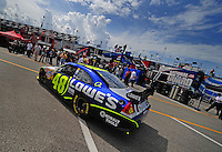 Jul. 3, 2008; Daytona Beach, FL, USA; Nascar Sprint Cup Series driver Jimmie Johnson heads out of the garage during practice for the Coke Zero 400 at Daytona International Speedway. Mandatory Credit: Mark J. Rebilas-