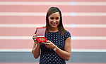 Jessica Ennis-Hill GBR) receives her gold medal from the Daegu 2011 championships following her promotion from silver. IAAF world athletics championships. London Olympic stadium. Queen Elizabeth Olympic park. Stratford. London. UK. 06/08/2017. ~ MANDATORY CREDIT Garry Bowden/SIPPA - NO UNAUTHORISED USE - +44 7837 394578