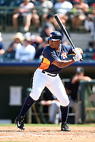 Houston Astros outfielder Adron Chambers (1) during a spring training game against the Miami Marlins on March 21, 2014 at Osceola County Stadium in Kissimmee, Florida.  Miami defeated Houston 7-2.  (Mike Janes/Four Seam Images)