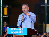 Harrisburg, PA - July 29, 2016: Democratic vice presidential candidate Sen. Tim Kaine speaks to supporters at the Broad Street Market in Harrisburg, PA, during a campaign stop on the Clinton/Kaine bus tour July 29, 2016.  (Photo by Don Baxter/Media Images International)