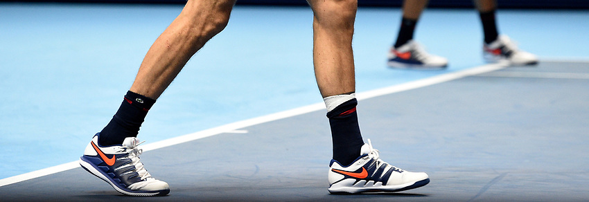Nicolas Mahut's banged ankle after having a fall<br /> <br /> Photographer Hannah Fountain/CameraSport<br /> <br /> International Tennis - Nitto ATP World Tour Finals Day 2 - O2 Arena - London - Monday 12th November 2018<br /> <br /> World Copyright © 2018 CameraSport. All rights reserved. 43 Linden Ave. Countesthorpe. Leicester. England. LE8 5PG - Tel: +44 (0) 116 277 4147 - admin@camerasport.com - www.camerasport.com