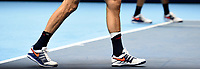Nicolas Mahut's banged ankle after having a fall<br /> <br /> Photographer Hannah Fountain/CameraSport<br /> <br /> International Tennis - Nitto ATP World Tour Finals Day 2 - O2 Arena - London - Monday 12th November 2018<br /> <br /> World Copyright &copy; 2018 CameraSport. All rights reserved. 43 Linden Ave. Countesthorpe. Leicester. England. LE8 5PG - Tel: +44 (0) 116 277 4147 - admin@camerasport.com - www.camerasport.com