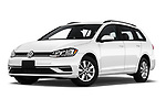 Stock pictures of low aggressive front three quarter view of a 2019 Volkswagen Golf SportWagen S 5 Door Wagon