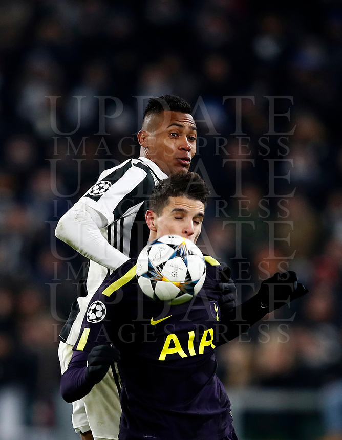 Football Soccer: UEFA Champions League Juventus vs Tottenahm Hotspurs FC Round of 16 1st leg, Allianz Stadium. Turin, Italy, February 13, 2018. <br /> Tottenham's Erik Lamela in action with Juventus' Alex Sandro (back) during the Uefa Champions League football soccer match between Juventus and Tottenahm Hotspurs FC at Allianz Stadium in Turin, February 13, 2018.<br /> UPDATE IMAGES PRESS/Isabella Bonotto