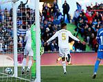 Real Madrid CF's Rapahel Varane  celebrates after scoring a goal during the Spanish La Liga match round 19 between Getafe CF and Real Madrid at Santiago Bernabeu Stadium in Madrid, Spain during La Liga match. Jan 04, 2020. (ALTERPHOTOS/Manu R.B.)