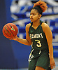 Zarria Franklin #3 of Elmont dribbles downcourt during the Class A Long Island Championship against Hauppauge at Suffolk County Community College Grant Campus in Brentwood on Thursday, March 8, 2018. Elmont won by a score of 56-30.