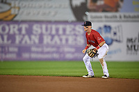 Salem Red Sox second baseman Brett Netzer (13) during the second game of a doubleheader against the Potomac Nationals on June 11, 2018 at Haley Toyota Field in Salem, Virginia.  Potomac defeated Salem 4-0.  (Mike Janes/Four Seam Images)