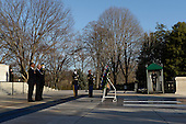 United States President Barack Obama (L) and Vice President Joe Biden (2-L) participate in a wreath-laying ceremony at the Tomb of the Unknown Soldier in Arlington National Cemetery, Arlington, Virginia, USA, 20 January 2013..Credit: Michael Reynolds / Pool via CNP