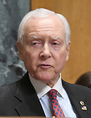 "United States Senator Orrin Hatch (Republican of Utah), the chairman of the committee, makes his opening statement during the US Senate Committee on Finance ""Hearing to Consider the Graham-Cassidy-Heller-Johnson Proposal"" on the repeal and replace of the Affordable Care Act (ACA) also known as ""ObamaCare"" in Washington, DC on Monday, September 25, 2017.  Senator Hatch, as the most senior senator in the majority party also serves as the president pro tempore of the US Senate, a position that puts him third in the line of succession to the US presidency.<br /> Credit: Ron Sachs / CNP"