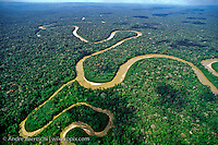Rio Pinquen and tributary meandering through lowland tropical rainforest, Manu National Park, Madre de Dios, Peru.