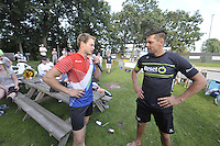 FIERLJEPPEN: BURGUM: 10-09-2016, Pollepleats Nationale Competie, Jaco de Groot en Bart Helmholt, ©foto Martin de Jong
