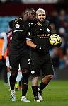 Sergio Aguero of Manchester City with the match ball following his hatrick talks to Benjamin Mendy of Manchester City during the Premier League match at Villa Park, Birmingham. Picture date: 12th January 2020. Picture credit should read: Darren Staples/Sportimage