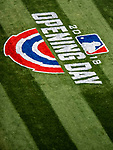 5 April 2018: The 2018 Opening Day Logo is seen freshly painted on the turf prior to the Washington Nationals Home Opening Game against the New York Mets at Nationals Park in Washington, DC. The Mets defeated the Nationals 8-2 in the first game of their 3-game series. Mandatory Credit: Ed Wolfstein Photo *** RAW (NEF) Image File Available ***