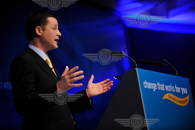Liberal Democrat Party leader Nick Clegg launches his party's manifesto for the 2010 general election in London.