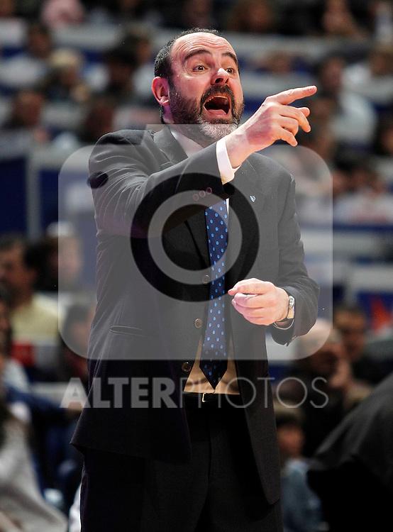 Asefa Estudiantes' coach Trifon Poch during Liga Endesa ACB match.April 15,2012. (ALTERPHOTOS/Acero)