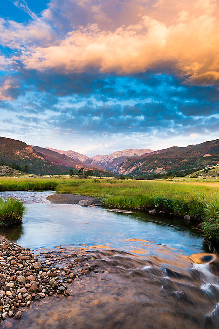 summer morning at the Big Thompson River, sunrise in Rocky Mountain National Park, Colorado, USA