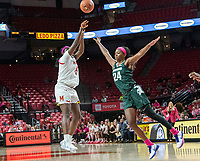 COLLEGE PARK, MD - FEBRUARY 03: Ashley Owusu #15 of Maryland sails one over Nia Clouden #24 of Michigan State during a game between Michigan State and Maryland at Xfinity Center on February 03, 2020 in College Park, Maryland.