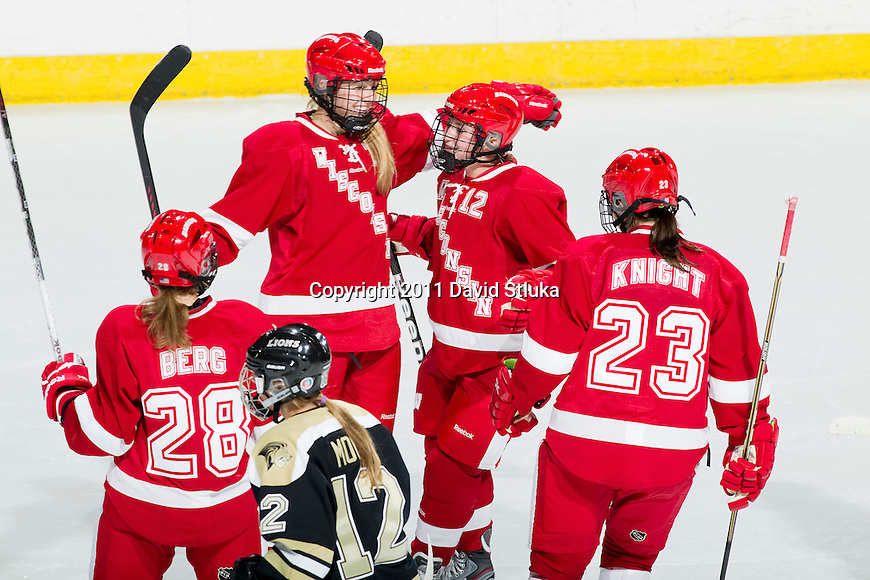 Wisconsin Badgers celebrates a goal during an NCAA Women's College Hockey game against Lindenwood University Lions on September 23, 2011 in Madison, Wisconsin. The Badgers won 11-0. (Photo by David Stluka)